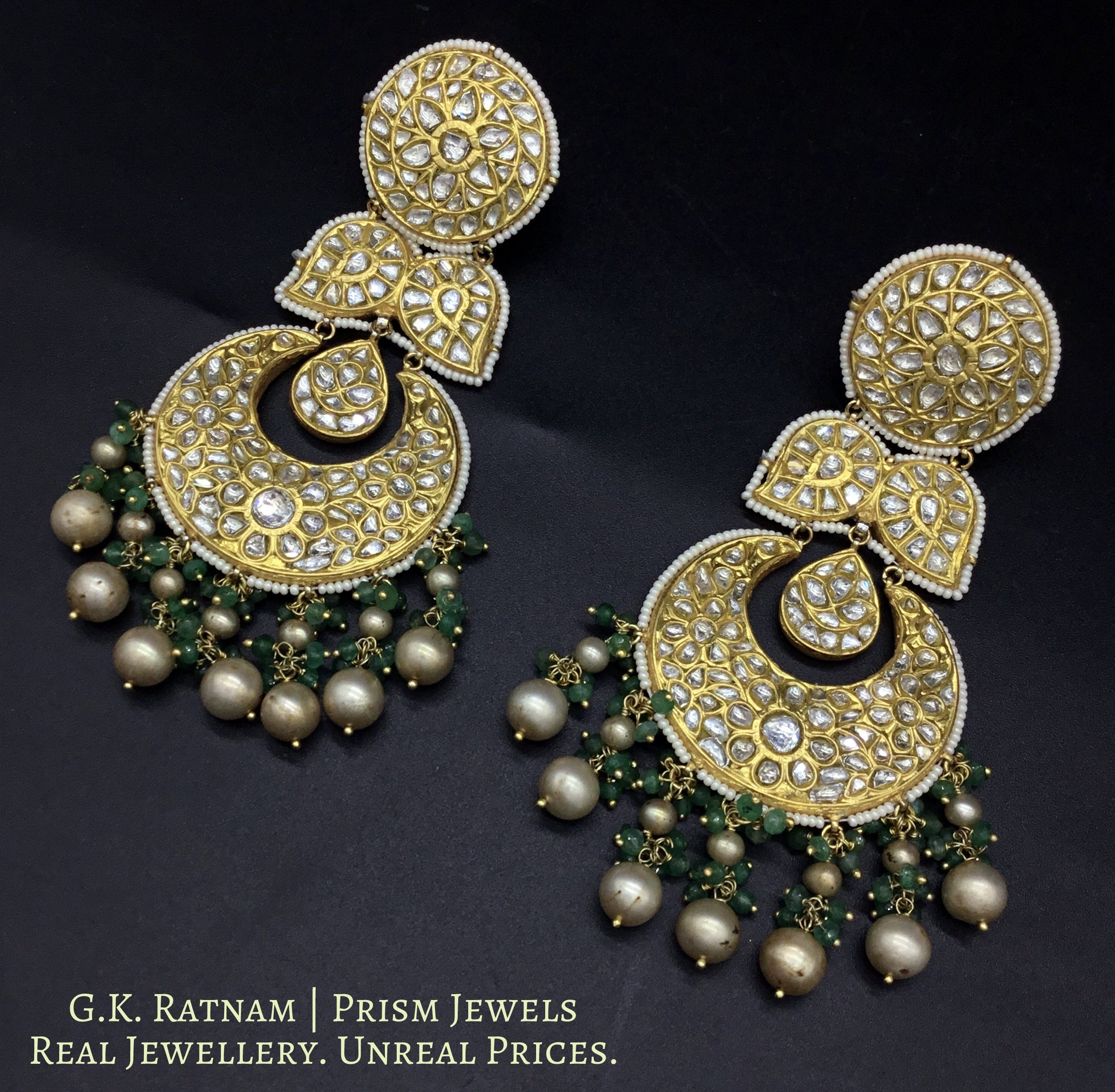 23k Gold and Diamond Polki Chand Bali Earring Pair with Antiqued freshwater pearls and emerald-grade beryls - gold diamond polki kundan meena jadau jewellery