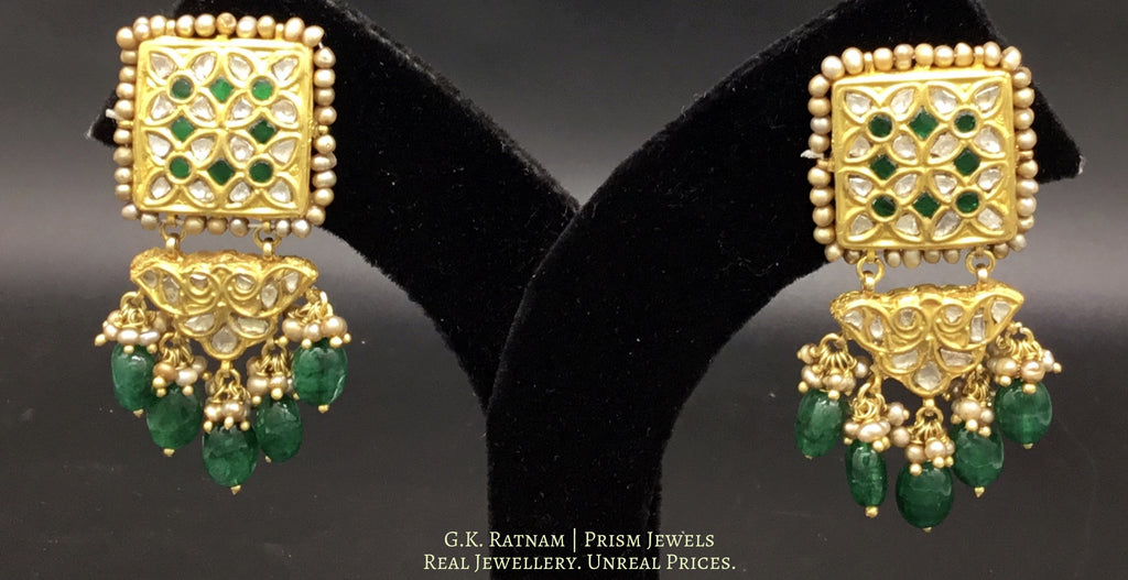 23k Gold and Diamond Polki Long Earring Pair with emerald-grade beryls and antique pearls - gold diamond polki kundan meena jadau jewellery