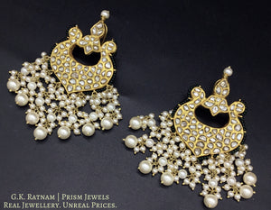 23k Gold and Diamond Polki Chand Bali Earring Pair with pearls strung in chandelier style - gold diamond polki kundan meena jadau jewellery