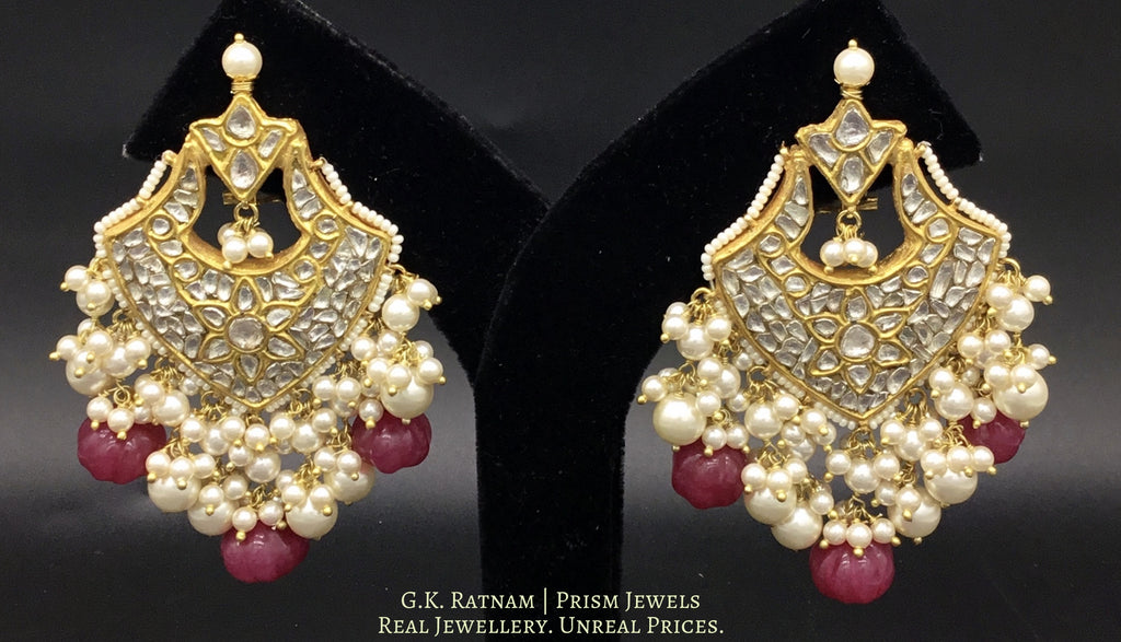 23k Gold and Diamond Polki Chand Bali Earring Pair with Ruby-red carved melons - gold diamond polki kundan meena jadau jewellery