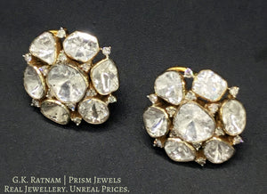 14k Gold and Diamond Polki Open Setting Tops / Studs Earring Pair with Cut Diamonds interspersed in Uncuts - gold diamond polki kundan meena jadau jewellery