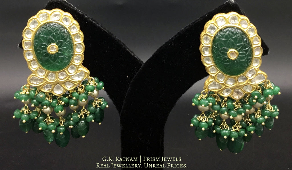 23k Gold and Diamond Polki Karanphool Earring Pair with an oval carved beryl at the center - gold diamond polki kundan meena jadau jewellery