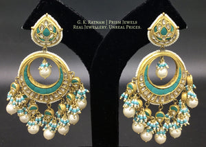 23k Gold and Diamond Polki Chand Bali Earring Pair with Turquoise Setting - gold diamond polki kundan meena jadau jewellery