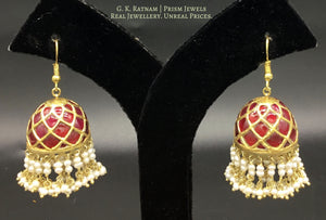 23k Gold and Ruby Jhumki Earring Pair enhanced with Natural Freshwater Pearls