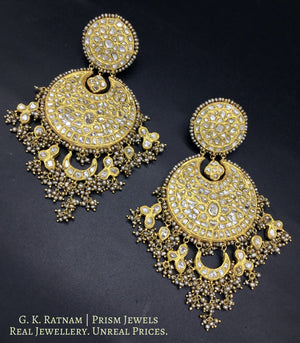 23k Gold and Diamond Polki Chand Bali Earring Pair with Antiqued Freshwater Pearls