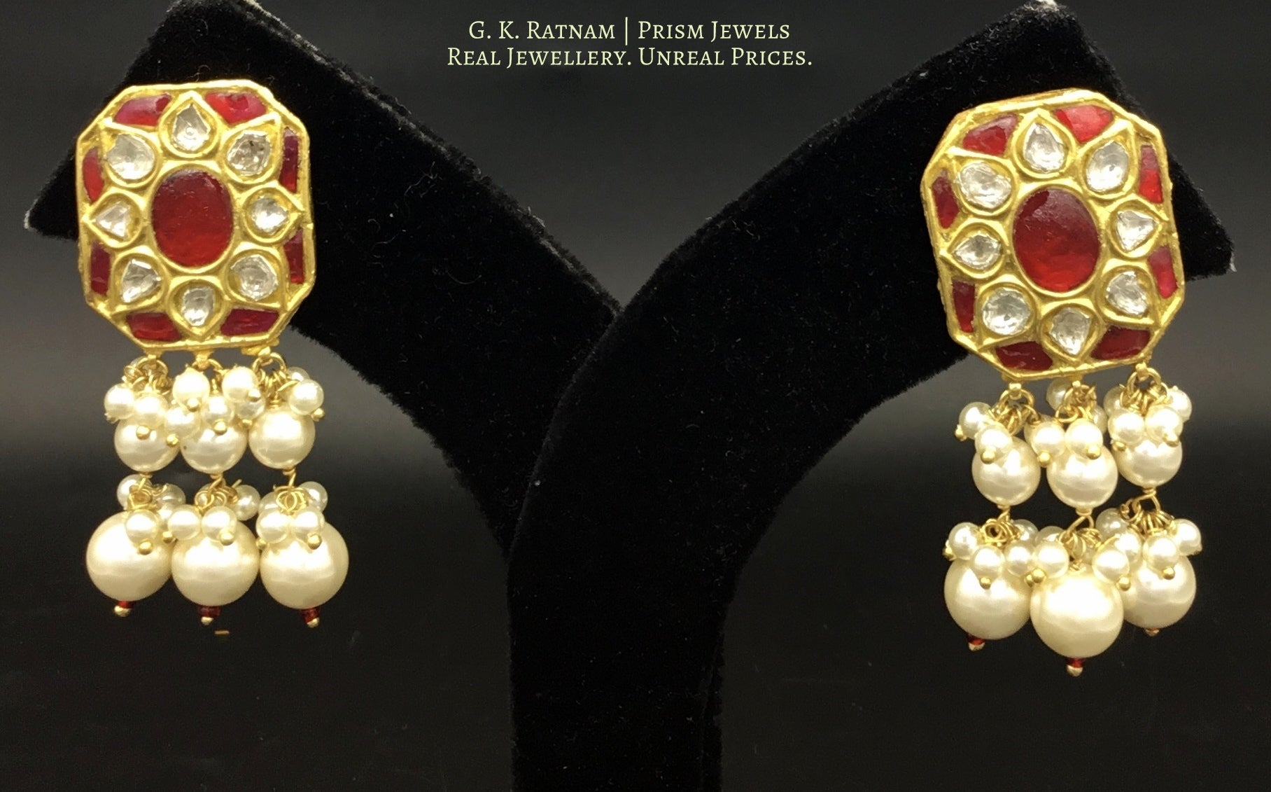 23k Gold and Diamond Polki Ruby Hybrid Pendant Set with tiny chid pearl bunches - gold diamond polki kundan meena jadau jewellery