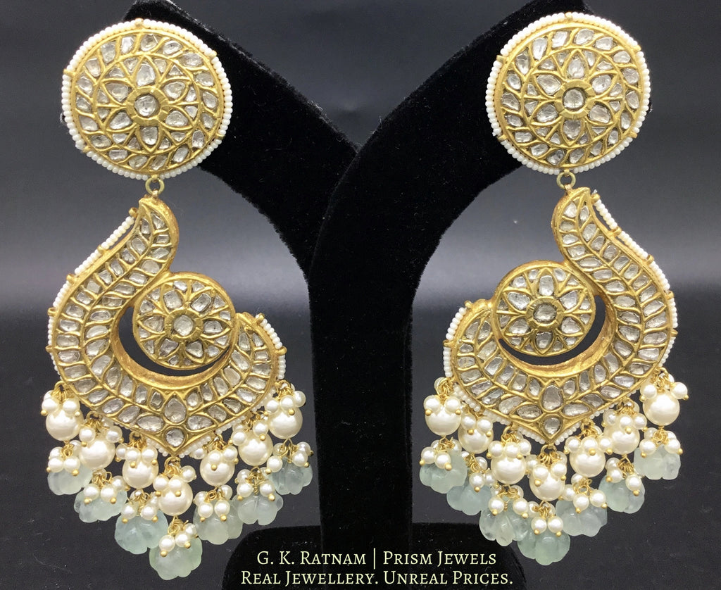 23k Gold and Diamond Polki Chand Bali Earring Pair with Green Fluorite Melons - gold diamond polki kundan meena jadau jewellery