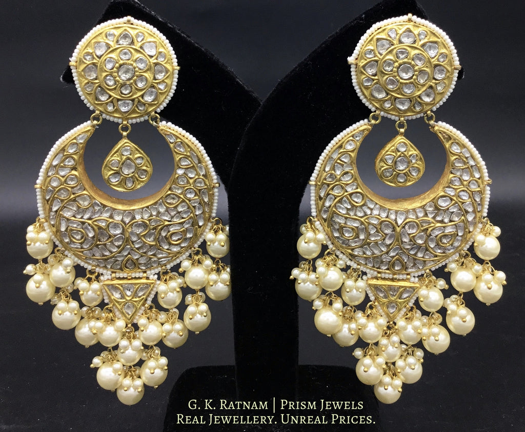 23k Gold and Diamond Polki Chand Bali Earring Pair with triangle hangings - gold diamond polki kundan meena jadau jewellery