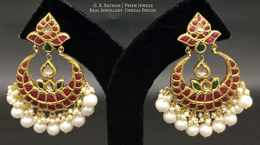 23k Gold and Diamond Polki Chand Bali Earring Pair with Rubies and Emeralds