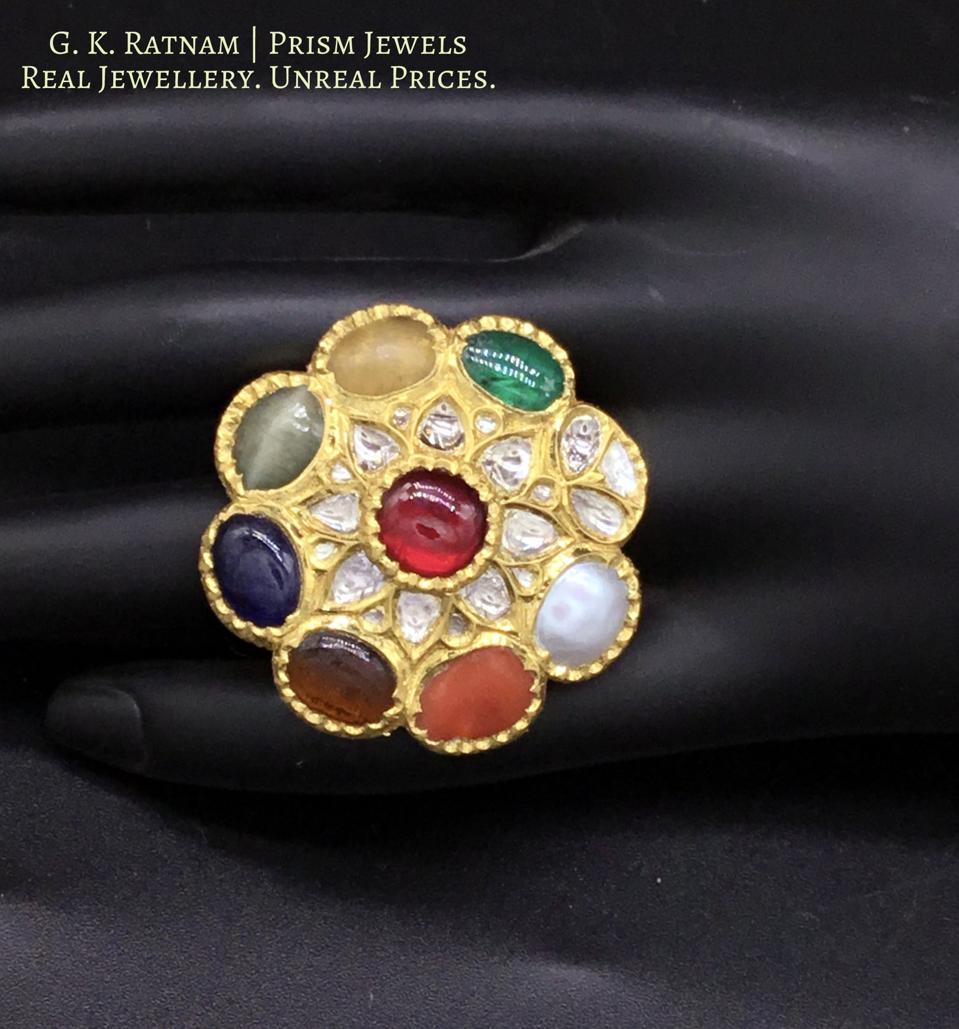 18k Gold and Diamond Polki Cocktail Ring with Navratna Stones - gold diamond polki kundan meena jadau jewellery