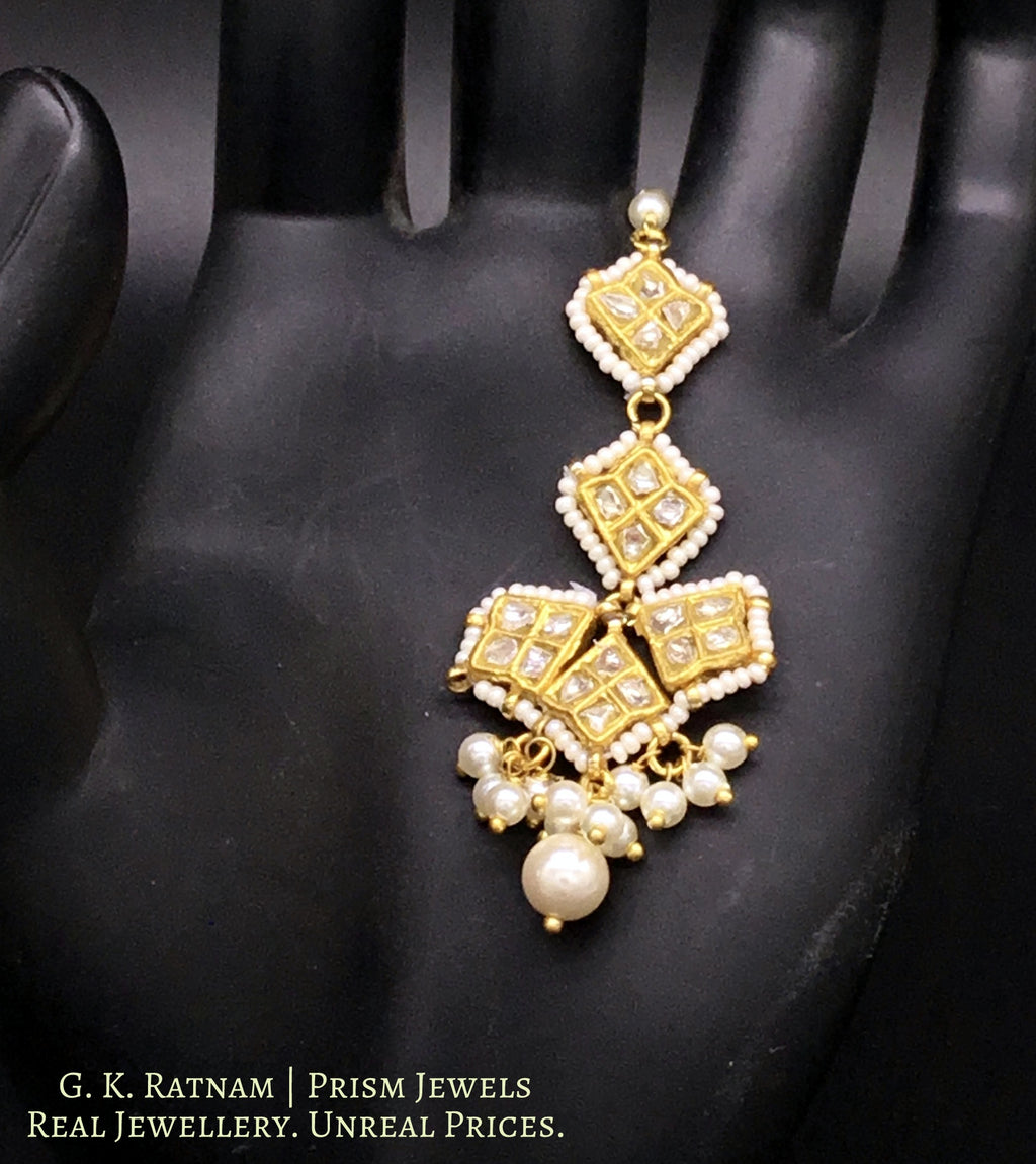 23k Gold and Diamond Polki Small Maang Tika With Pearl Bunches