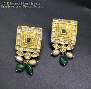 22k Gold and Diamond Polki green-center Rectangle Pendant Set with emerald-grade green beryl tumbles - gold diamond polki kundan meena jadau jewellery
