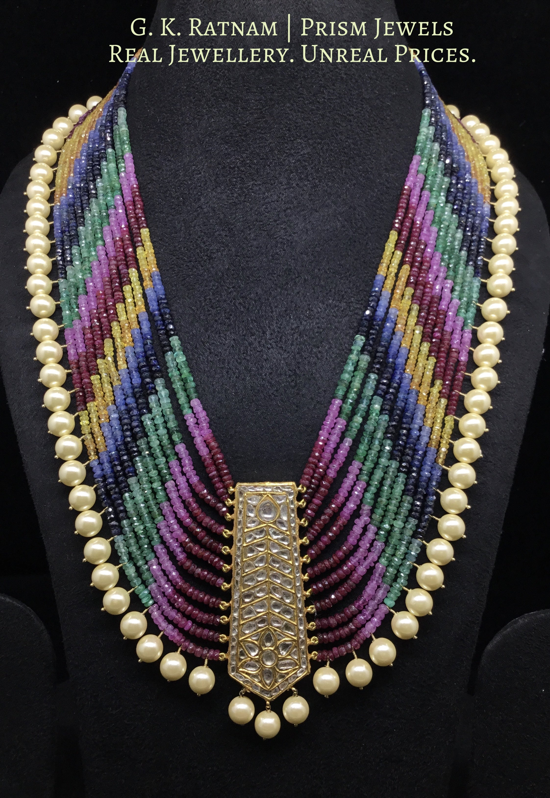 23k Gold and Diamond Polki tie-shaped Pendant Set strung with natural multi-color rainbow beads