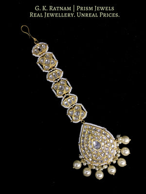 23k Gold and Diamond Polki Maang Tika enhanced with triple-coated shell pearls