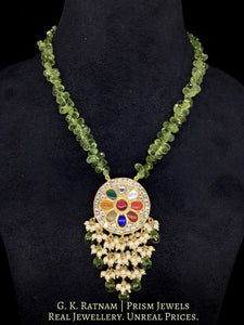 23k Gold and Diamond Polki Navratna Pendant enhanced with Peridot Drops and Pearl Bunches