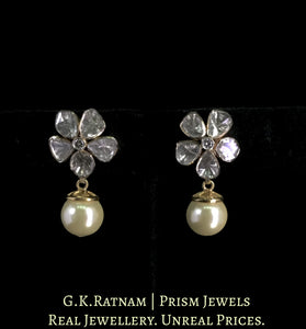 14K Gold Diamond Polki Floral Tops / Studs Earring Pair with Pearl Hangings
