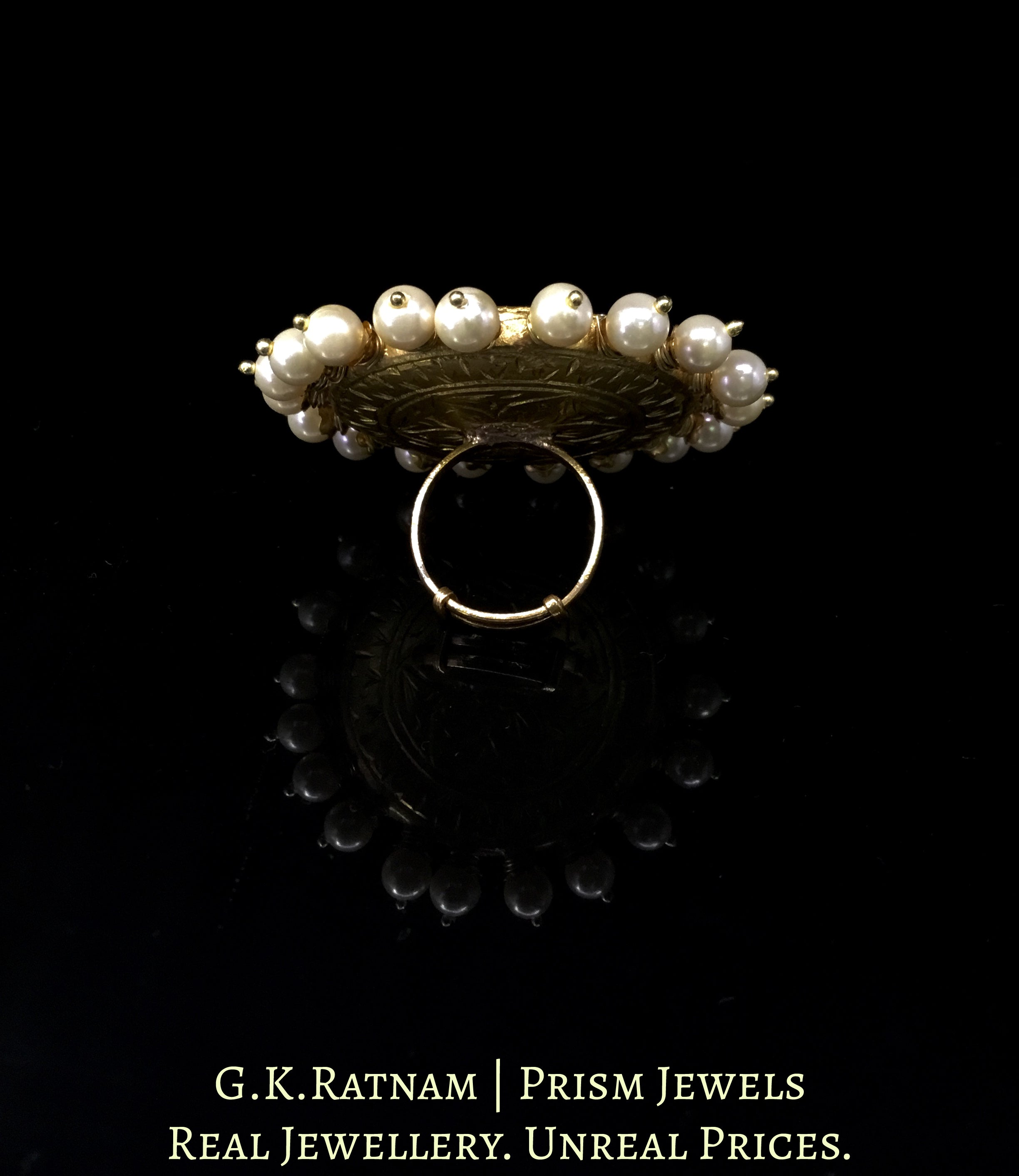 23k Gold and Diamond Polki Navratna Ring with Pearl Spikes