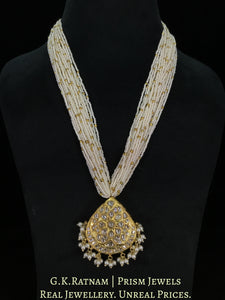 23k Gold and Diamond Polki pear-shaped Pendant with Chid Pearl Bunches