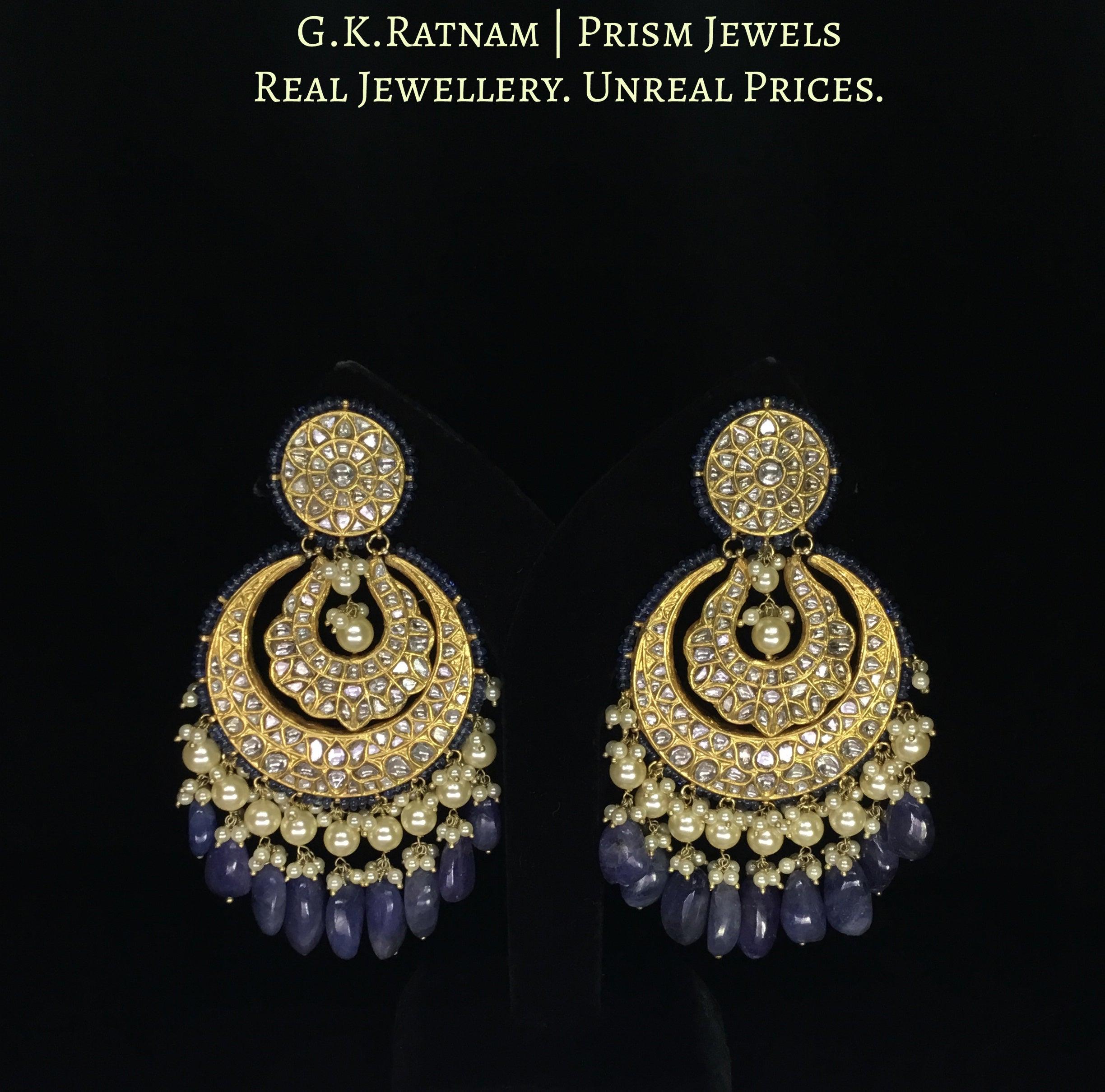 23k Gold and Diamond Polki Chand Bali Earring Pair strung with Blue Sapphires and lustrous Pearls