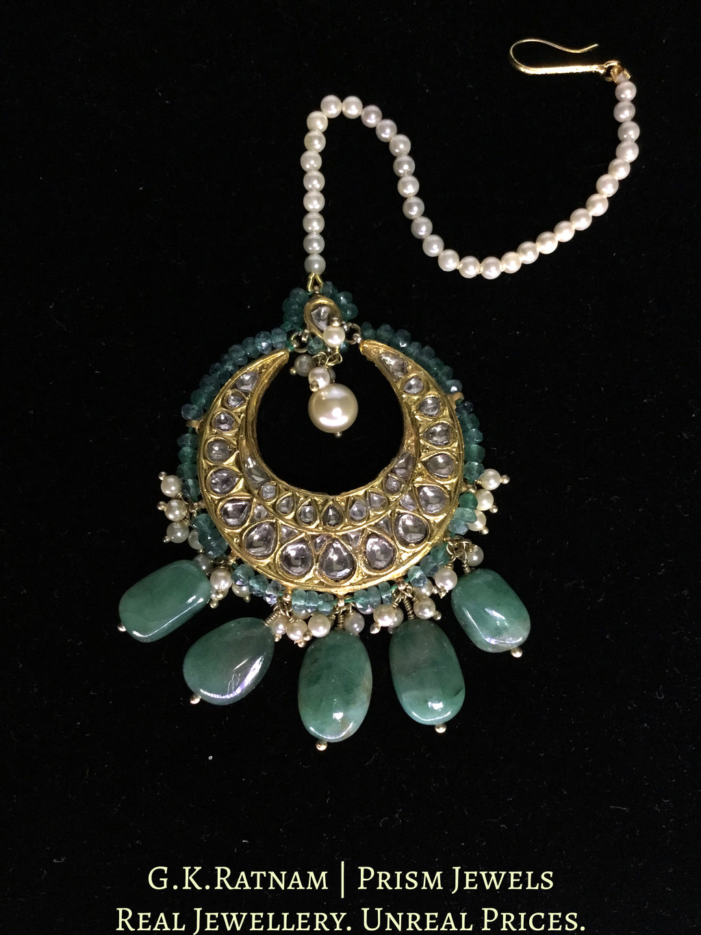 23k Gold and Diamond Polki Maang Tikka strung with Natural Emeralds