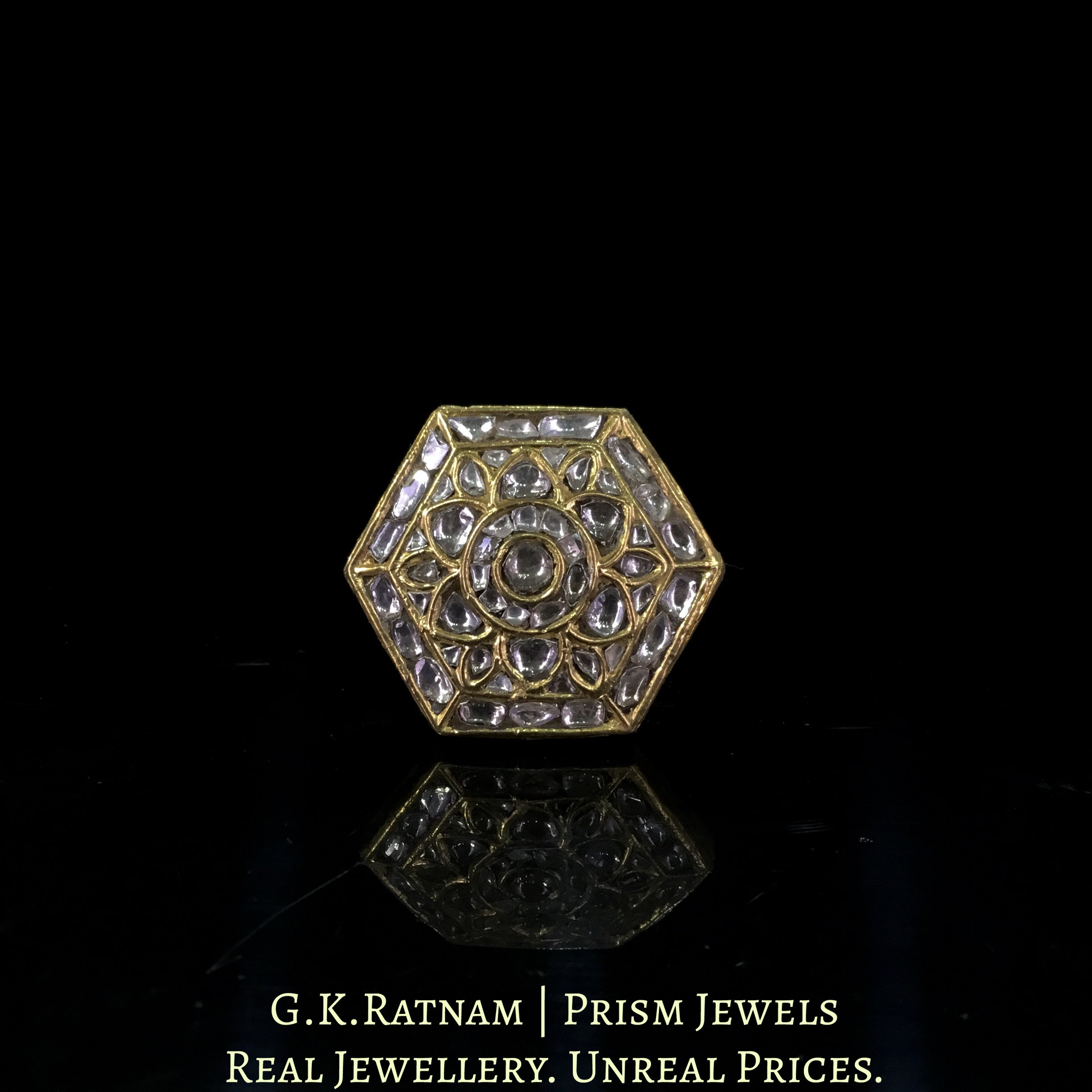 23k Gold and Diamond Polki Octagonal Ring
