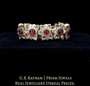 23k Gold and Diamond Polki Bracelet Pair (Paunchi / Ponchi) with ruby-red Stones