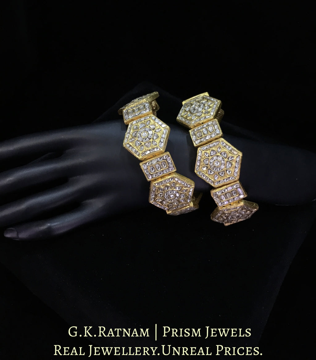 23k Gold and Diamond Polki Bracelet Pair (Paunchi / Ponchi) with Hexagonal Motifs