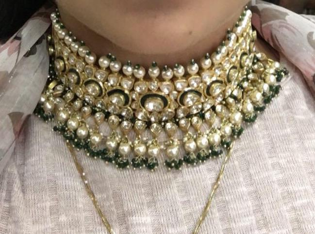 18k Gold and Diamond Polki green Choker Necklace Set with triple-coated shell pearls and emerald-green bead clusters - gold diamond polki kundan meena jadau jewellery