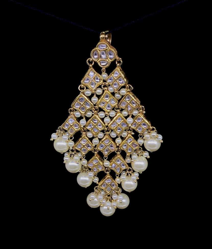 23k Gold and Diamond Polki kite-shaped Maang Tika enhanced with triple-coated shell pearls
