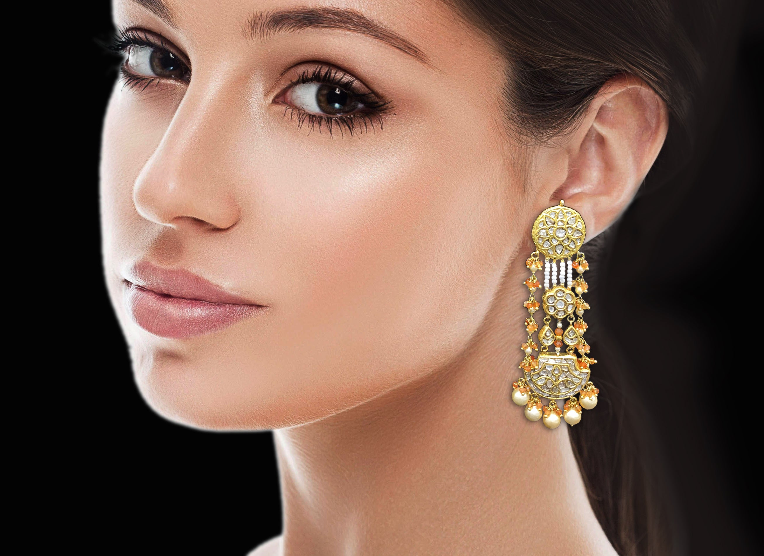 23k Gold and Diamond Polki pankhi (fan) Long Earring Pair with orange carnelians and natural freshwater pearls