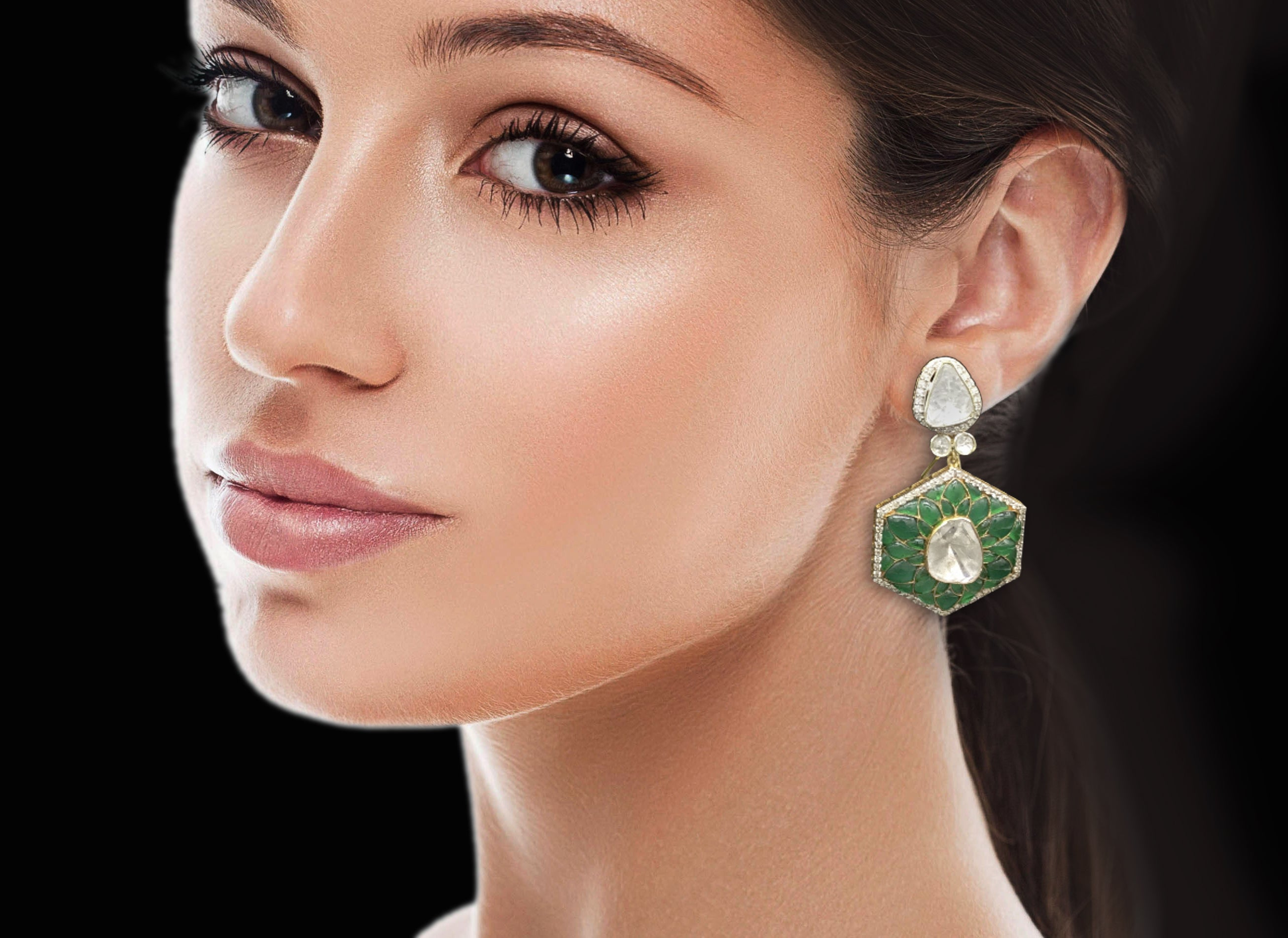14k Gold and Diamond Polki Open Setting Long Earring Pair with emerald-grade green motifs