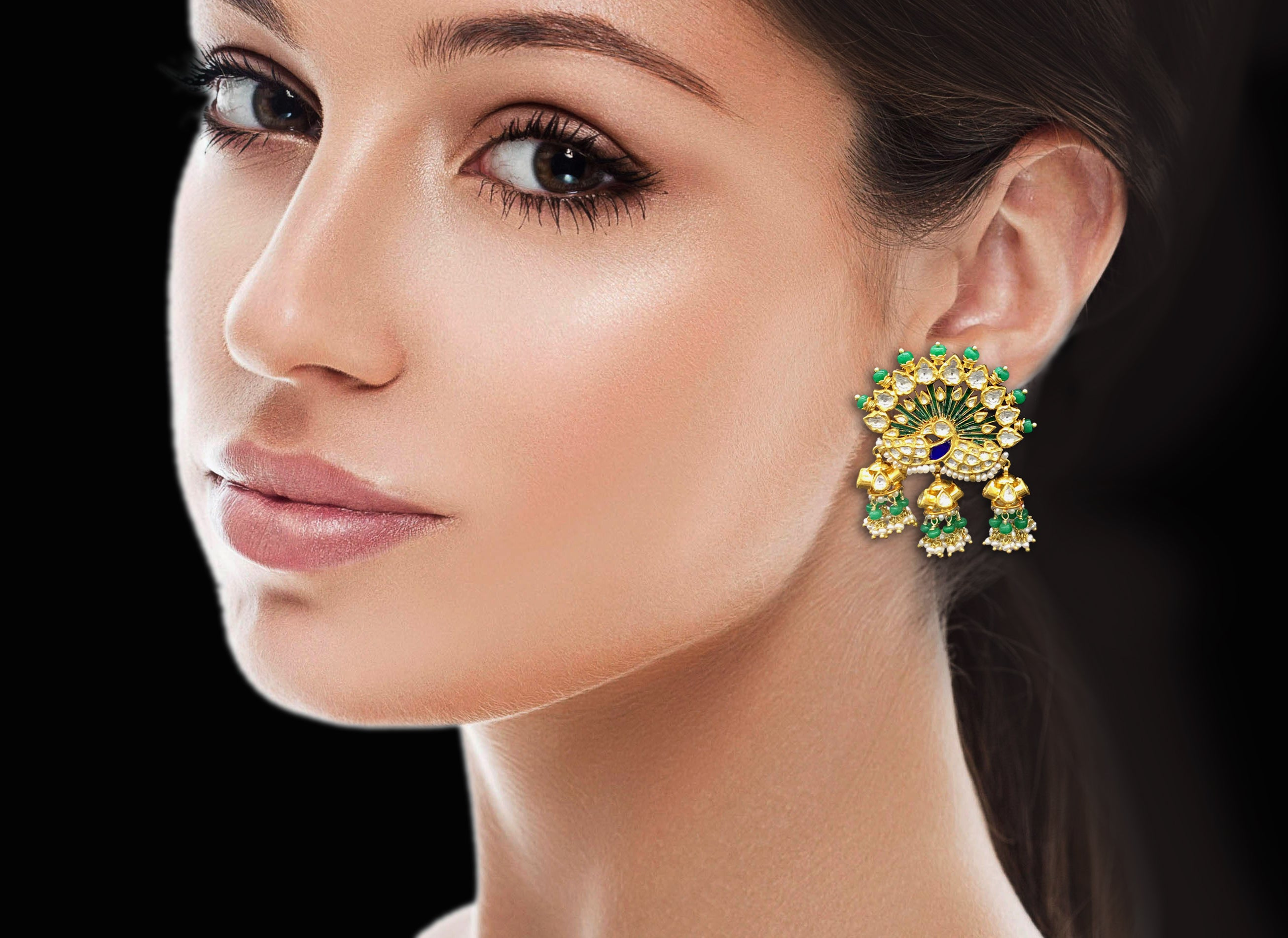 18k Gold and Diamond Polki Peacock Karanphool Earring Pair with small jhumkis strung in emerald-grade green beryls - G. K. Ratnam
