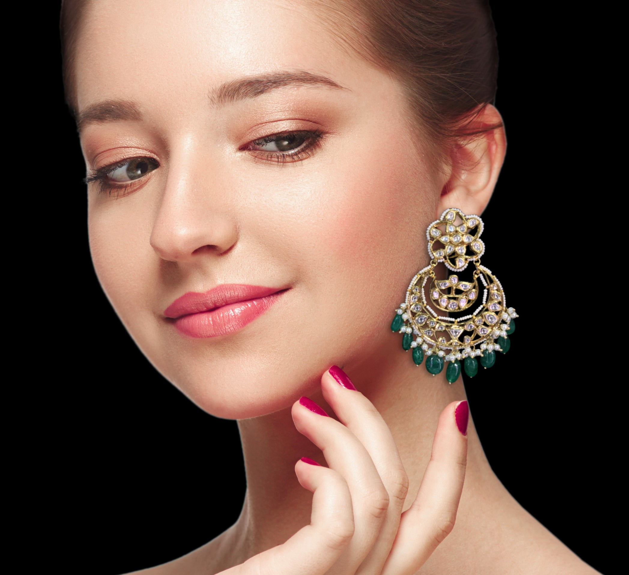 18k Gold and Diamond Polki Chand Bali Earring Pair with emerald-grade Green Beryls