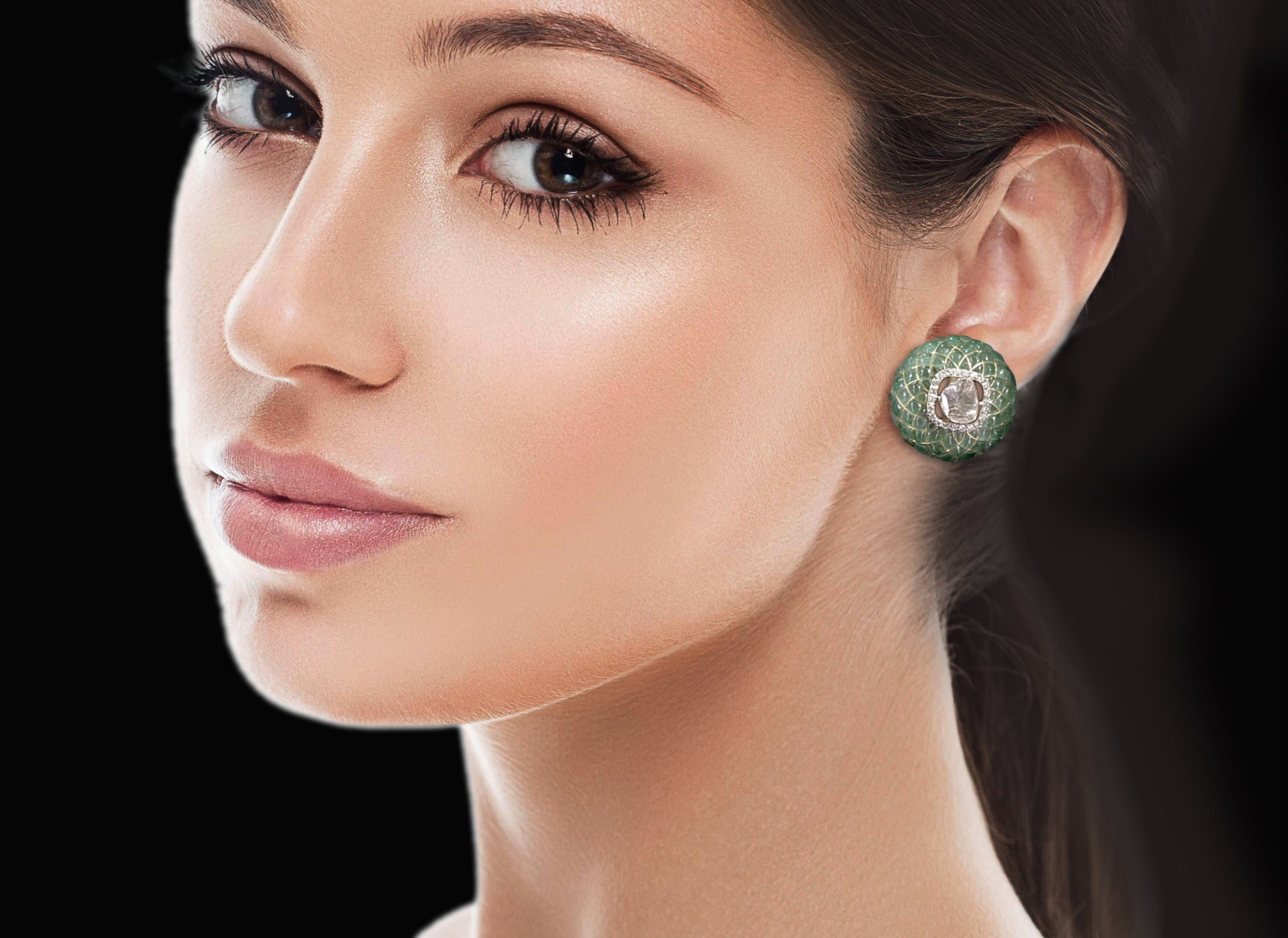 18k Gold and Diamond Polki Open Setting Tops / Studs Earring Pair with emerald-grade stones