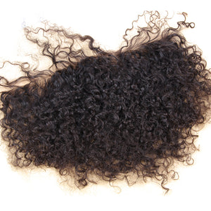 "Lace Frontal 13x4"" Afro Kinky Curly Noir Naturel 100% Cheveux Indiens"