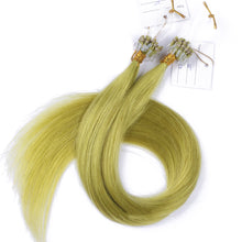 10A European Hair Micro Loop Hair Extensions #Light Green Color