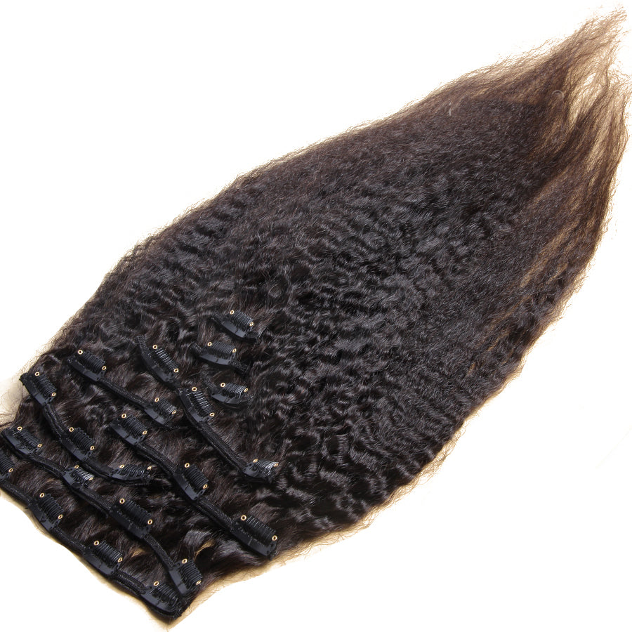 10A Brazilian Hair Clip-In Hair Extensions Kinky Straight