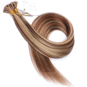 10A Brazilian Hair U Tip Hair Extensions  #6/#27 Highlight Color