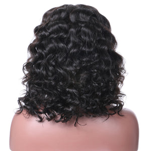 【Perruque】360 Lace Forntal Wigs Densité 180% Bob Style Curly 100% Cheveux Indiennes