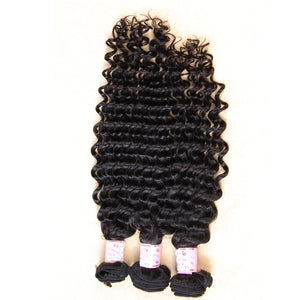 10A Peruvian Virgin Hair Weave Natural Color Deep Curly