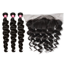 Tissages Brésiliens Loose Wave Lot De 4 Boules Avec Lace Frontal Offert 100% Remy Hair
