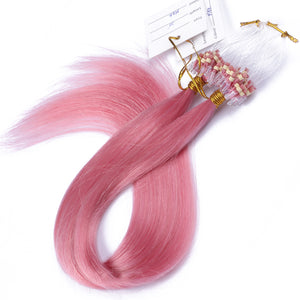 10A Brazilian Hair Micro Loop Hair Extensions #Pink Color