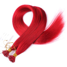 10A Brazilian Hair Flat Tip Hair Extensions #Red Color