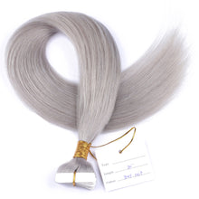 10A Brazilian Hair Tape In Hair Extensions Gray Color