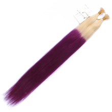 10A Brazilian Hair U Tip Hair Extensions #613/purple Ombre Color