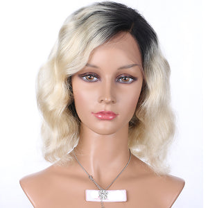 【Perruque】Lace Front Blond #1B/T#613 Ondulé(Natural Wave)100% Cheveux Vierges Chinois