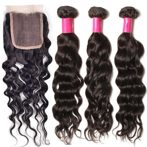 Tissages Bresiliens Lot De 4 Boules Avec Lace Closure Ondulé (Natural  Wave) 100% Remy Hair