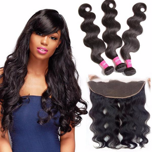 Tissages Brésiliens Lot De 3 Boules Avec Lace Frontal Body Wave 100% Cheveux Naturel