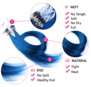 10A Brazilian Hair Micro Loop Hair Extensions #Gray Color