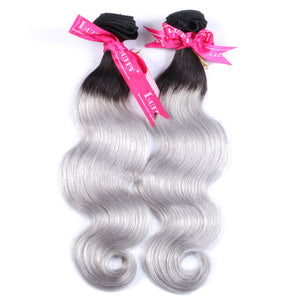 10A Peruvian Virgin Hair Weave  #2/gray ombre color Body Wave